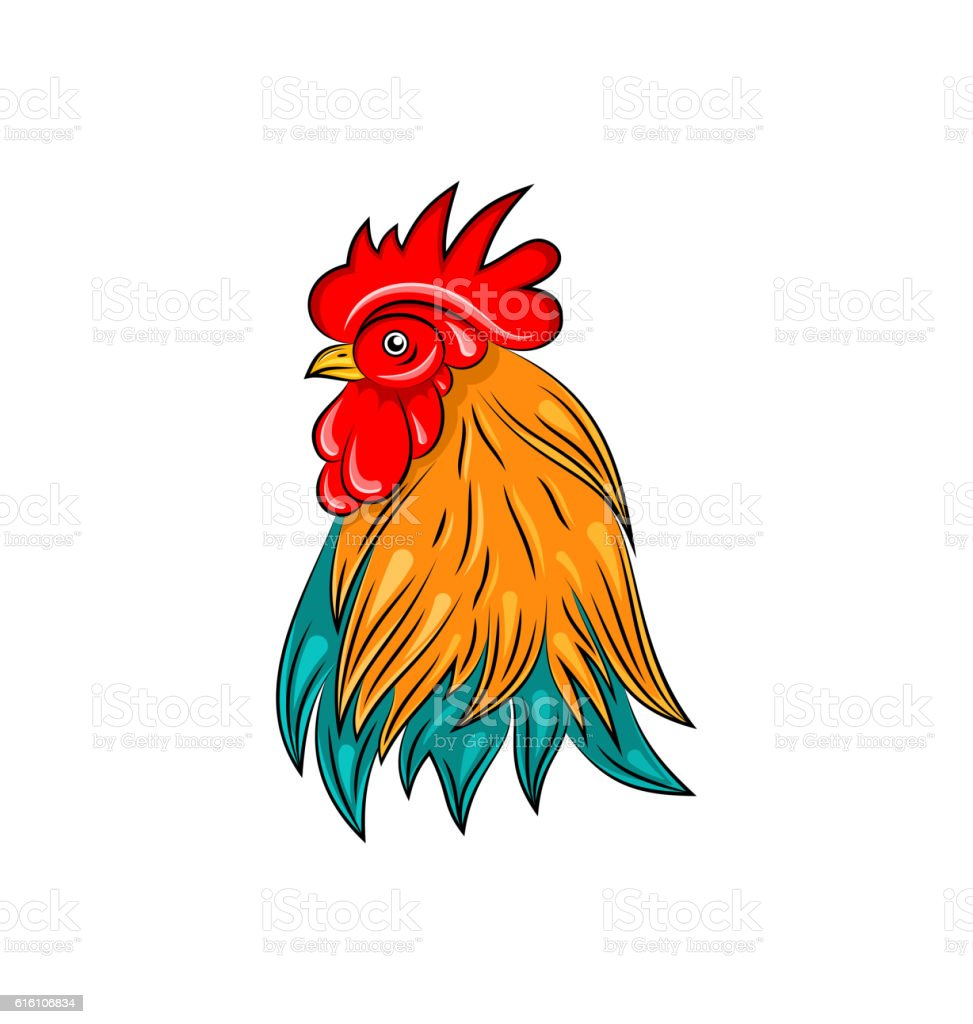 Head Of Rooster Hand Drawn Style Colorful Cock Stock Vector Art