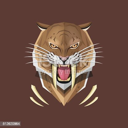 Vector illustration concept of Saber-toothed tiger