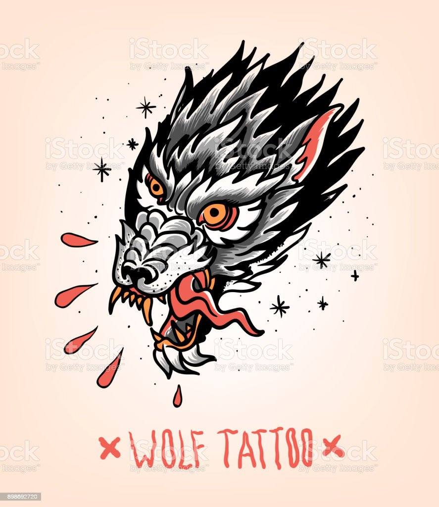 Head of Tearing Wolf in the style of Traditional tattoo. Old school. vector art illustration