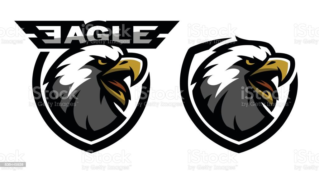 Head of the eagle, sport icon. Two versions.