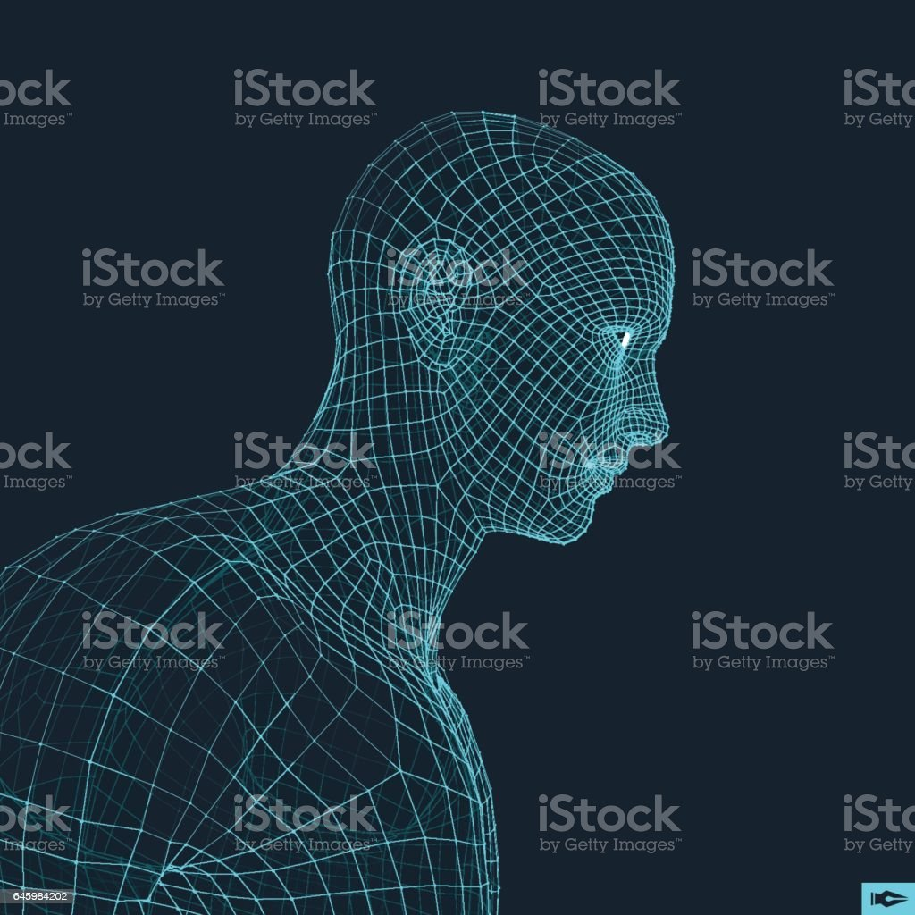 Head of the Person from a 3d Grid. Geometric Face Design. vector art illustration