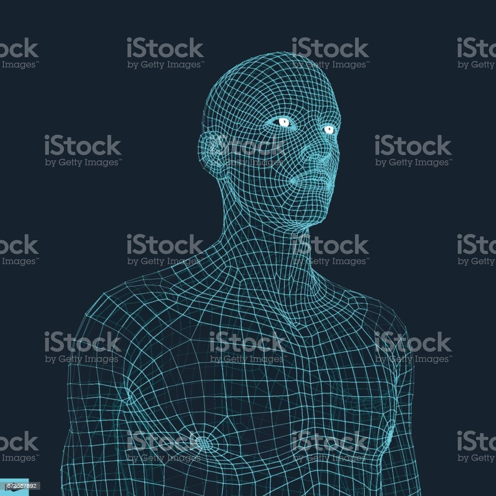 Head of the Person from a 3d Grid. Geometric Face Design. Vector Illustration. vector art illustration