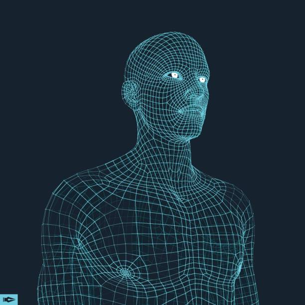 head of the person from a 3d grid. geometric face design. vector illustration. - wire frame model stock illustrations
