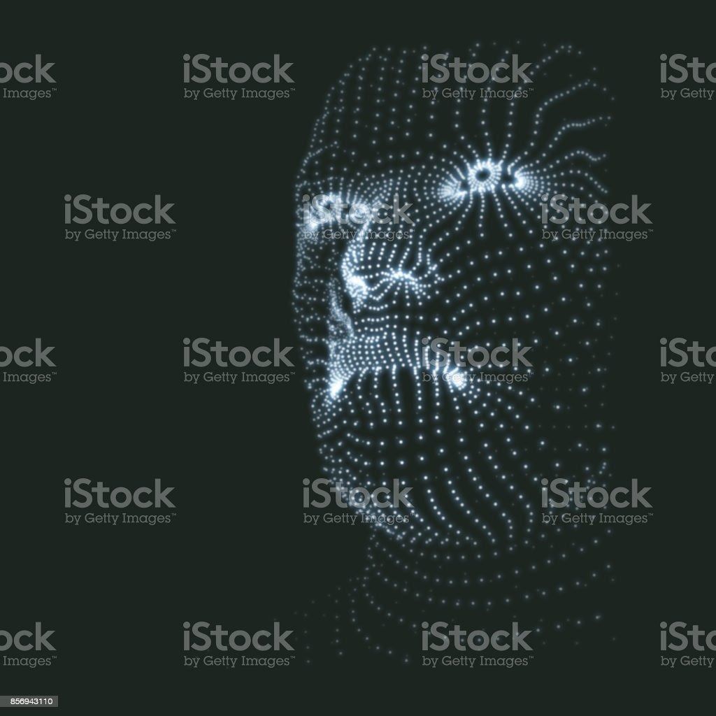 Head of the Person from a 3d Grid. Human Head Model. Face Scanning. View of Human Head. 3D Geometric Face Design. 3d Covering Skin. Geometry Man Portrait. Can be used for Avatar, Science, Technology vector art illustration