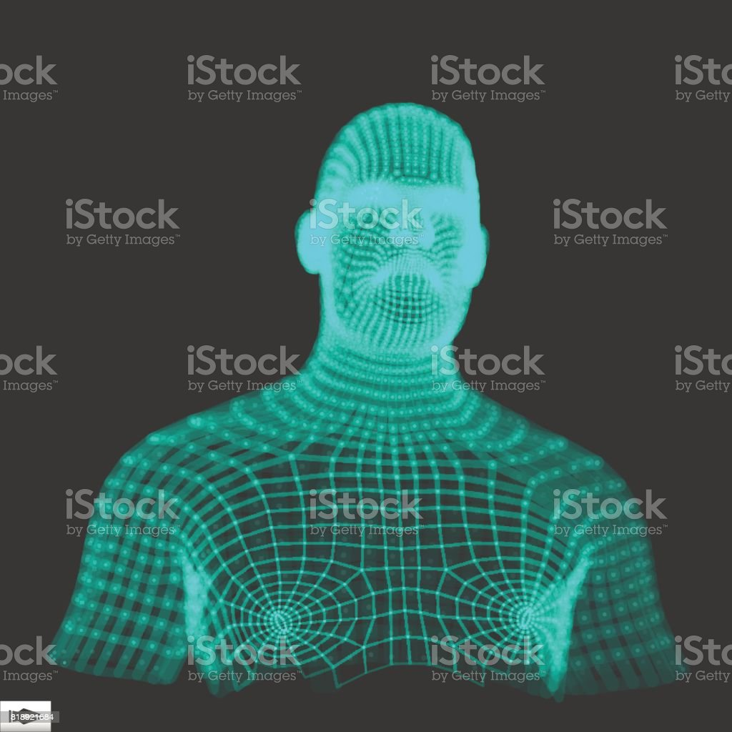 Head Of The Person From A 3d Grid Human Head Wire Model Human ...