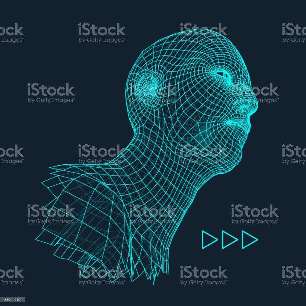 Kopf Der Person Aus Einem 3d Raster Ein Menschlicher Kopf ...