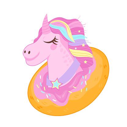 Head of unicorn in donut, flat cartoon vector illustration isolated.