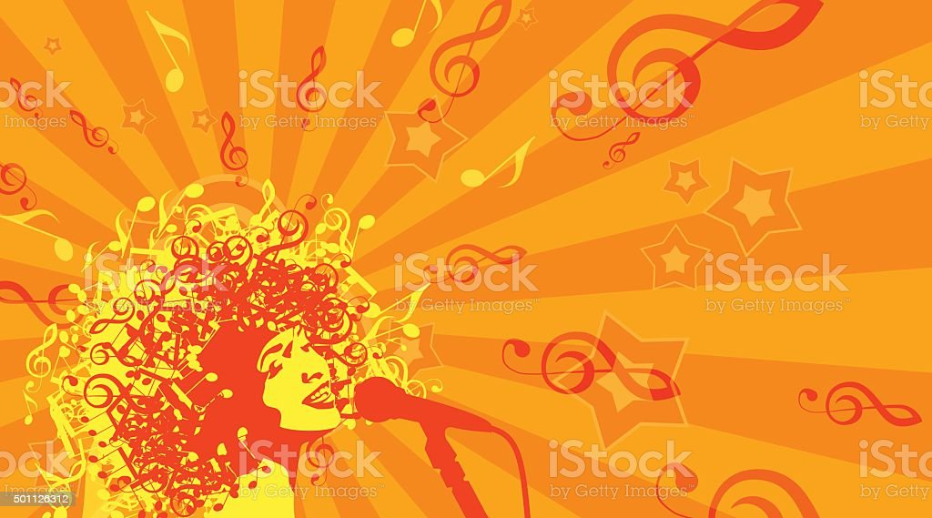 Head of Woman with Hair as Musical Symbols on a vector art illustration