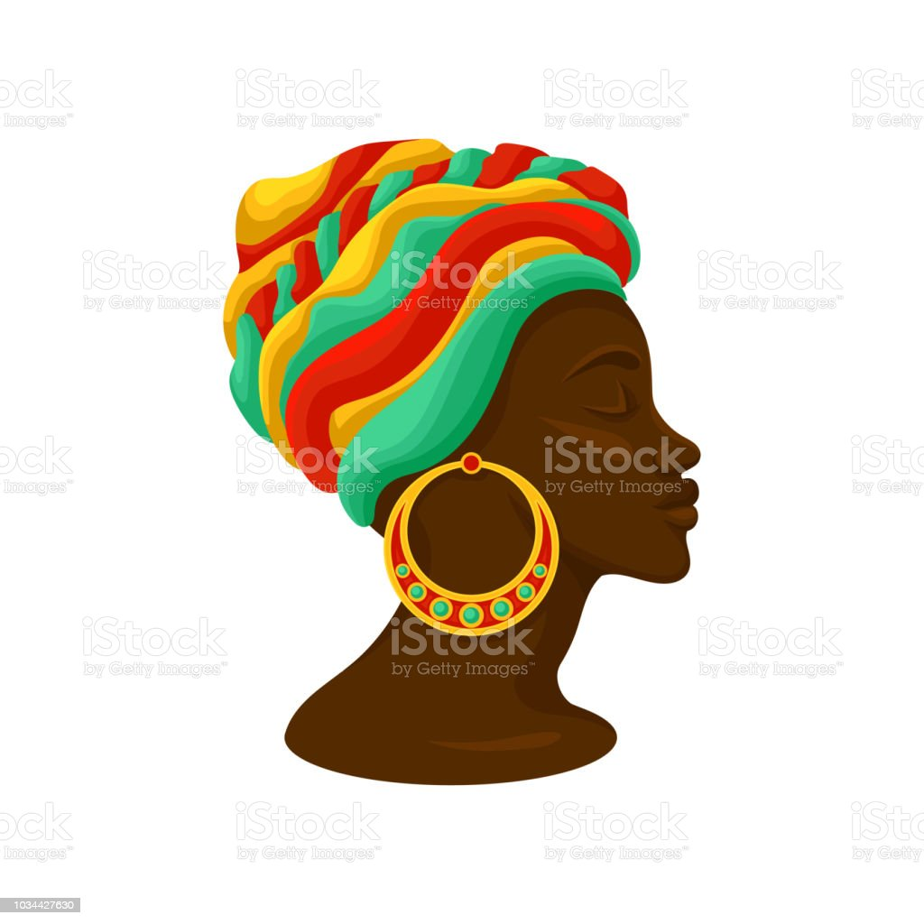 Head of young black woman in a turban, side view vector Illustration on a white background vector art illustration