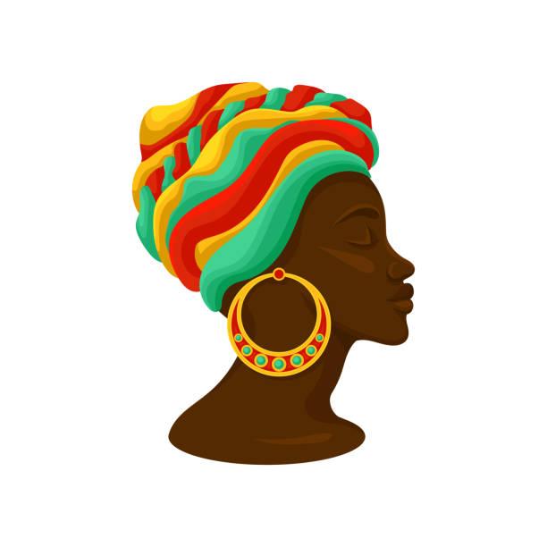 ilustraciones, imágenes clip art, dibujos animados e iconos de stock de cabeza de joven negro en un turbante, vista lateral vector ilustración sobre un fondo blanco - descendencia africana