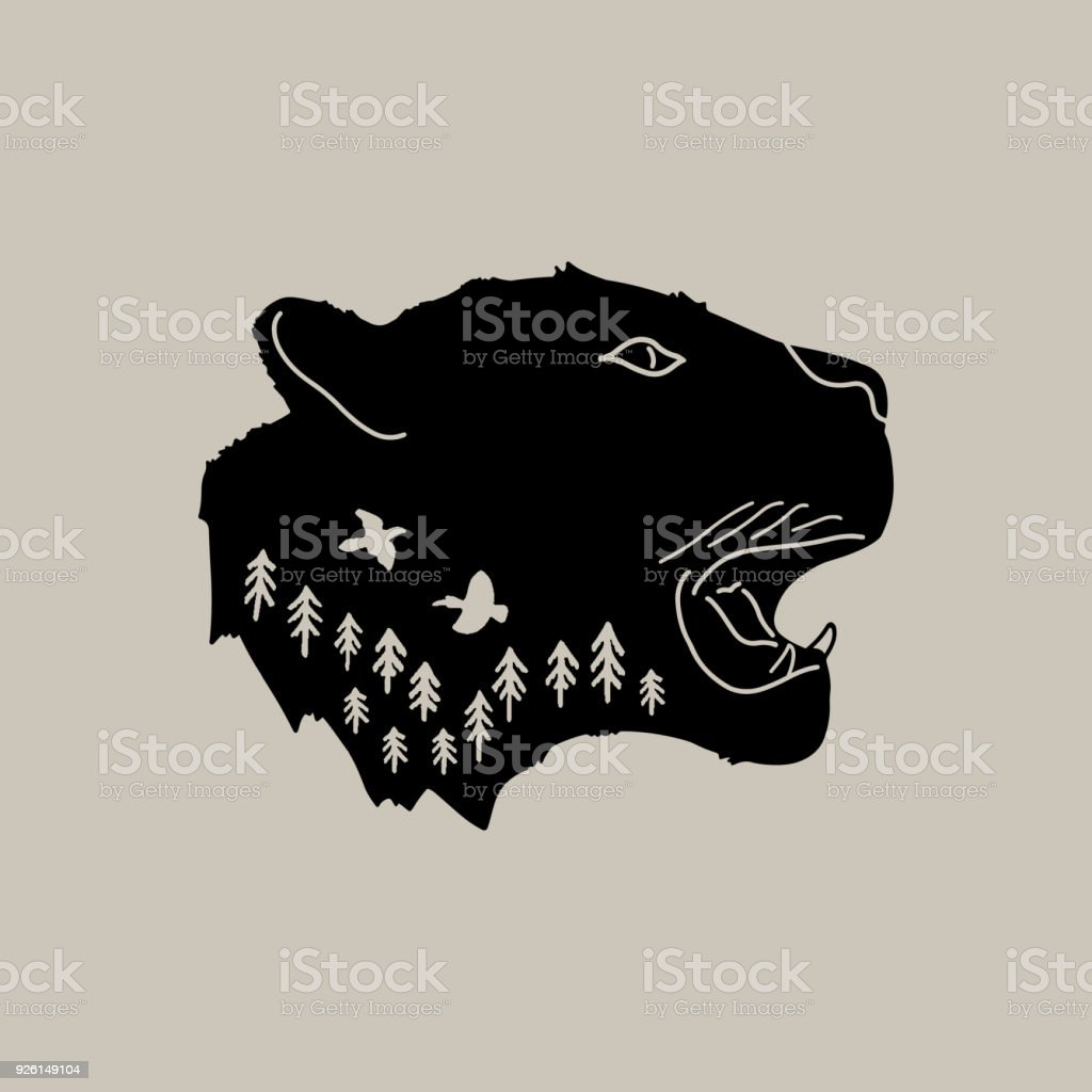 head panther with detail wild graphic