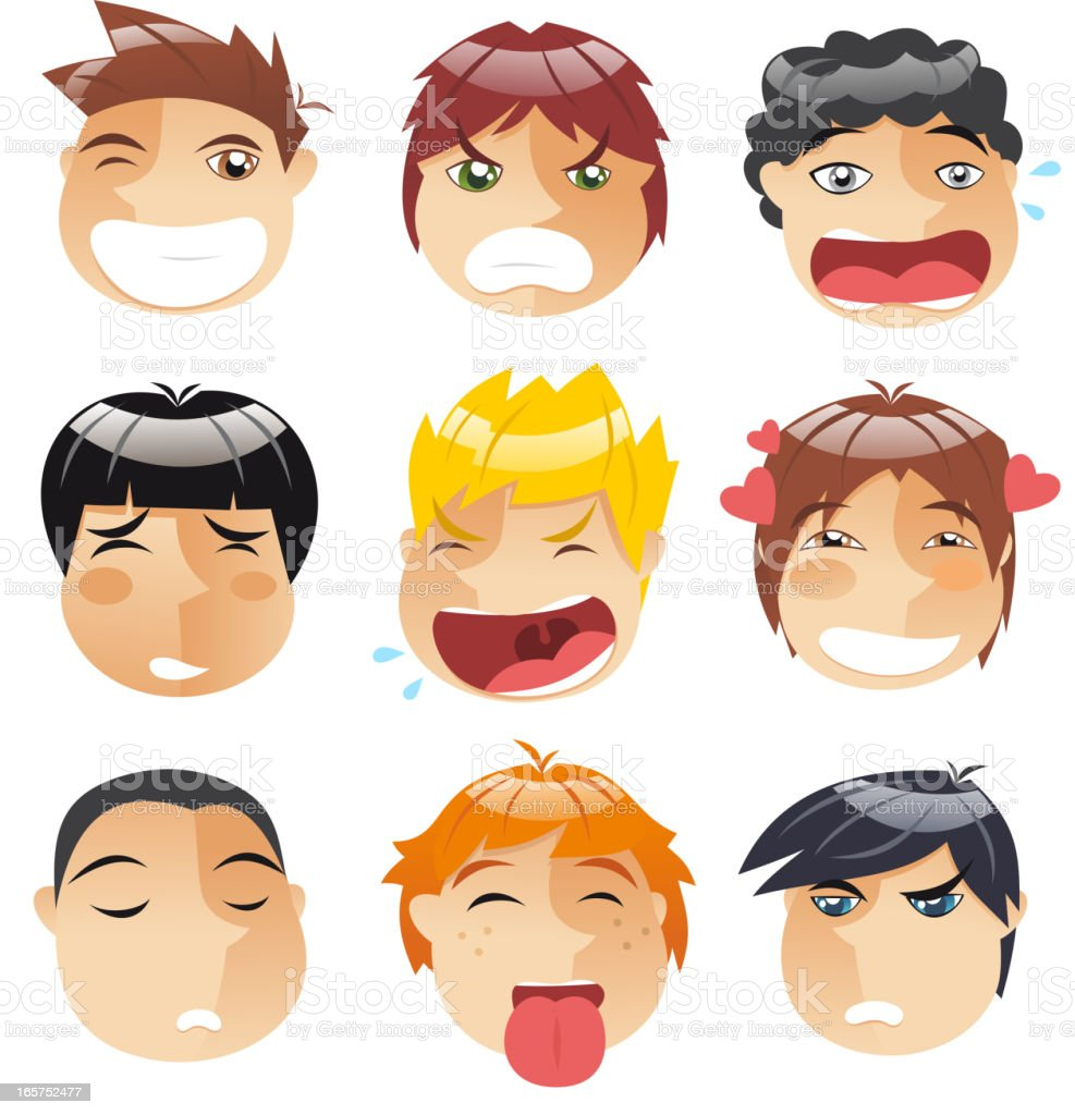 Head People Little boys faces Avatar Profile Set royalty-free head people little boys faces avatar profile set stock vector art & more images of anger