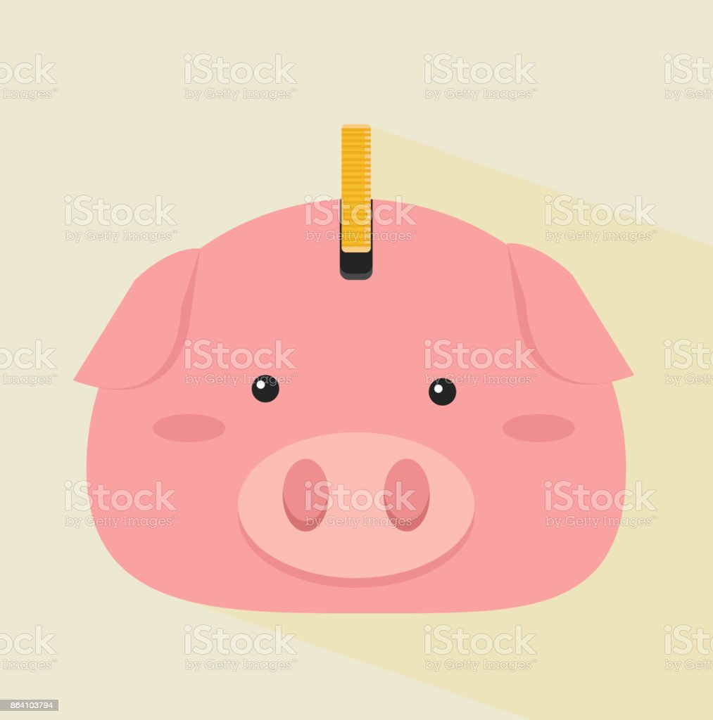 head pig with coin royalty-free head pig with coin stock vector art & more images of abundance
