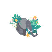 Head portrait of an elephant for different design and tattoo. Cartoon style icon of the cute animal face with tropical leaves, flowers.