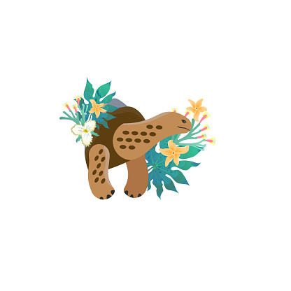 Head portrait of galapagos tortoise for different design and tattoo. Cartoon style icon of the cute animal face with tropical leaves, flowers.