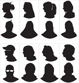Head profile and front silhouette.Girls and boys