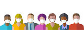 Diverse set of Head Profile Icons or Avatars in a flat design style, people wearing masks to protect against Coronavirus Infection.