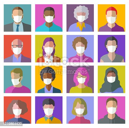 istock Head Profile Icons with protective masks 1219864420