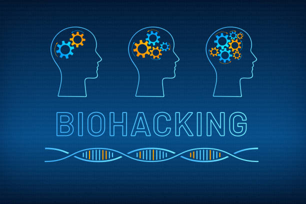 Head profile with gear brain bio hacking concept Head silhouette with gear brain bio hacking concept vector illustration. Face profile with improved gear mechanism brain, blue, orange dna molecule helix and big sign biohacking on digital background biohacking stock illustrations