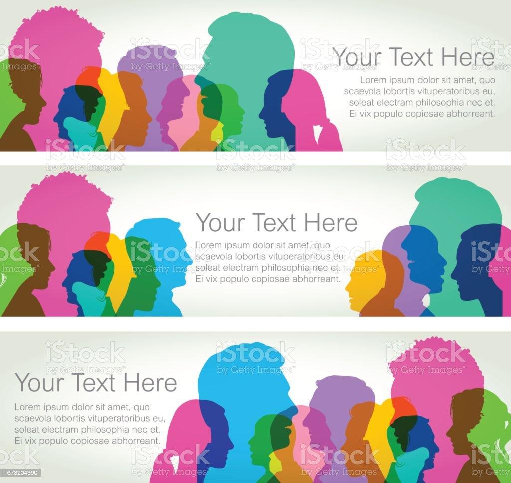 Head Profiles - Horizontal Banners vector art illustration