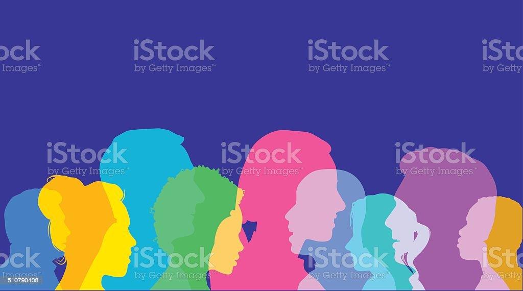 Head Profiles vector art illustration