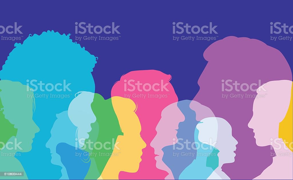 Head Profiles vector art illustration