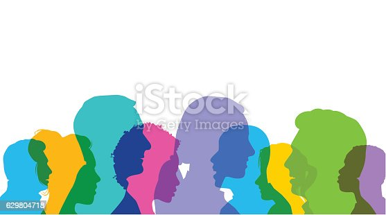 Colourful overlapping silhouettes of head profiles. EPS10 file, best in RGB, CS5 versions in zip