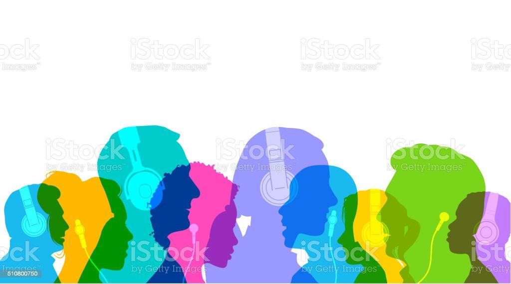 Head Profiles with Headphones vector art illustration
