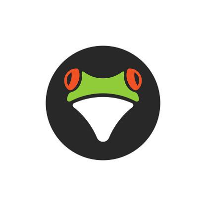 Head red eye tree frog logo, fun tropical animal round logotype