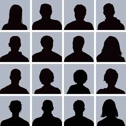 Silhouettes of various anonymous people for use in profile images.