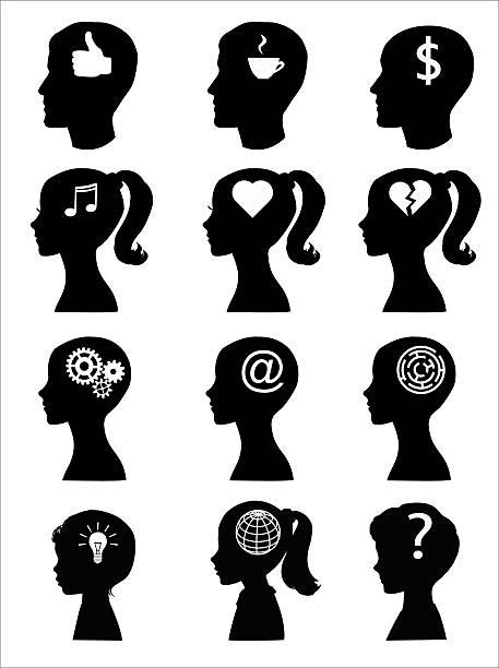 kopf silhouetten von mann, frau und kinder mit symbolen. - kindergesichtsfarben stock-grafiken, -clipart, -cartoons und -symbole