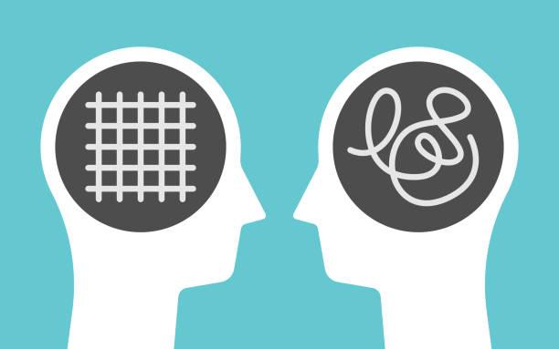 Kopfsilhouetten, Ordnung, Chaos – Vektorgrafik