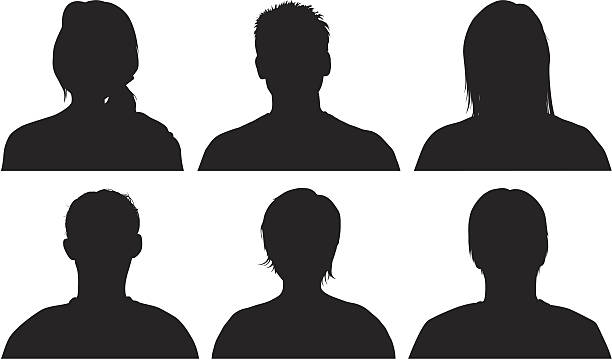 head silhouettes - head and shoulders stock illustrations, clip art, cartoons, & icons
