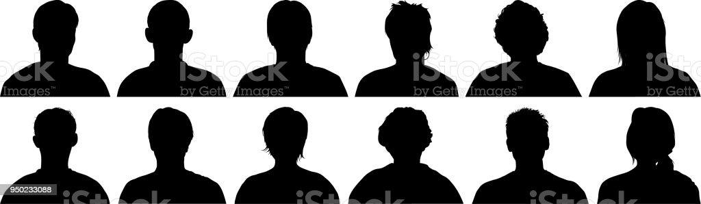 Head Silhouettes vector art illustration