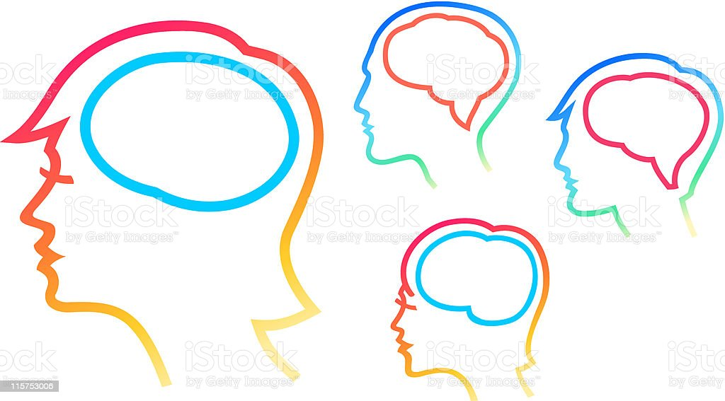 head silhouettes with brain highlighten vector art illustration