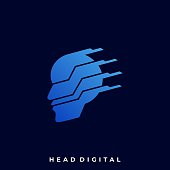 Head Technology Illustration Vector Design Template. Suitable for Creative Industry, Multimedia, entertainment, Educations, Shop, and any related business
