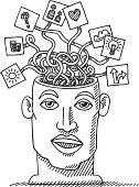 Hand-drawn vector drawing of a restless thinking head. Concept image for Psychology. Black-and-White sketch on a transparent background (.eps-file). Included files: EPS (v8) and Hi-Res JPG.