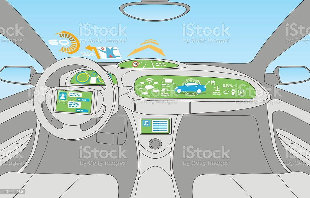 Kopf die (HUD) und verschiedene Anzeige im Auto. – Vektorgrafik
