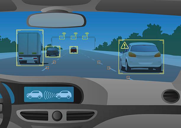 ヘッドアップディスプレイ(hud)、さまざまな情報 - 自動運転車点のイラスト素材/クリップアート素材/マンガ素材/アイコン素材