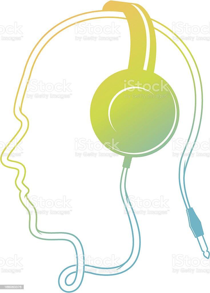 DJ head vector art illustration