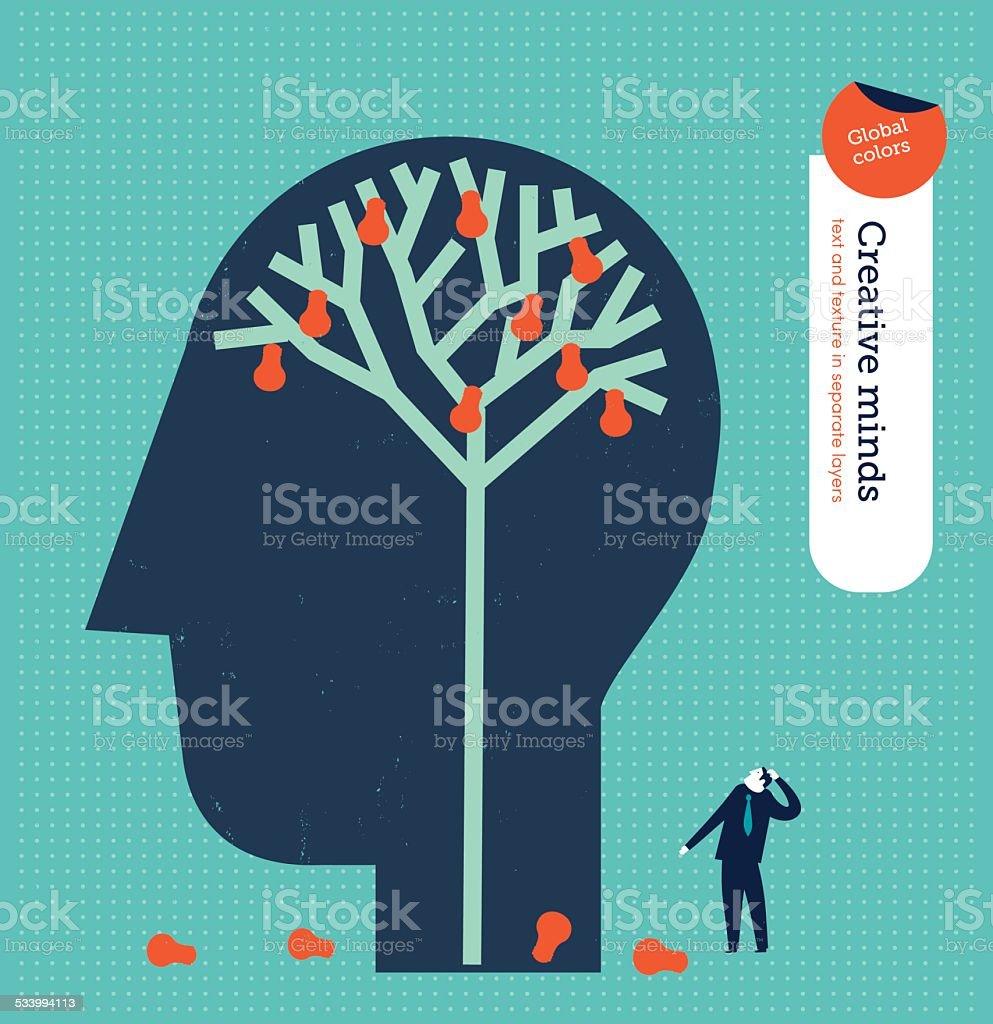 Head with a brain tree with bulbs as fruits vector art illustration