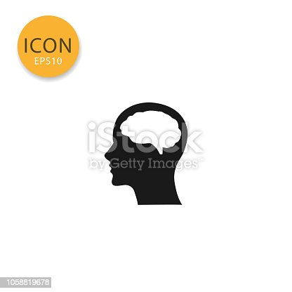 Head with brain icon flat style in black color vector illustration on white background.