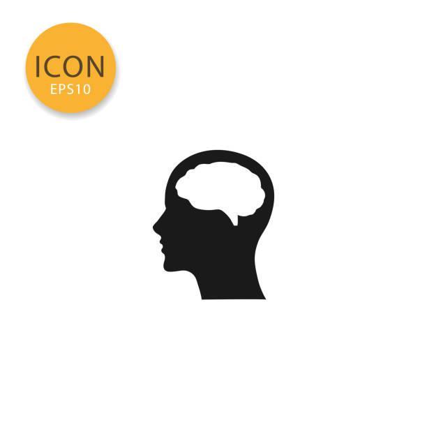 ilustrações, clipart, desenhos animados e ícones de cabeça com estilo simples do cérebro ícone isolado. - cabeça