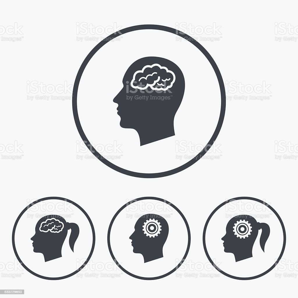 Head With Brain Icon Male And Female Human Symbols Stock Vector Art