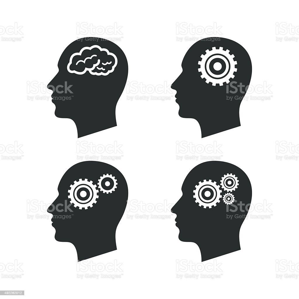 Head with brain icon. Male human symbols vector art illustration