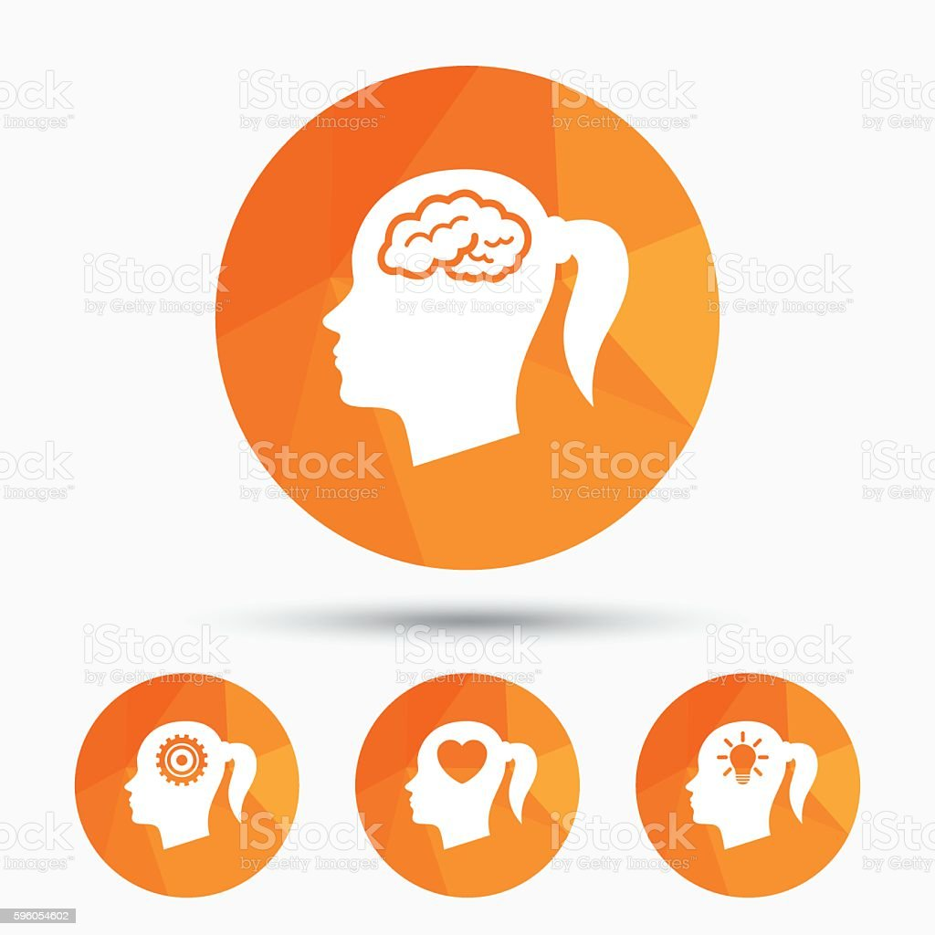 Head with brain icon.Female woman symbols. royalty-free head with brain iconfemale woman symbols stock vector art & more images of adult