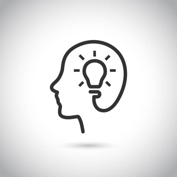 ilustrações, clipart, desenhos animados e ícones de cabeça com o ícone de lâmpada em fundo cinza. - cabeça