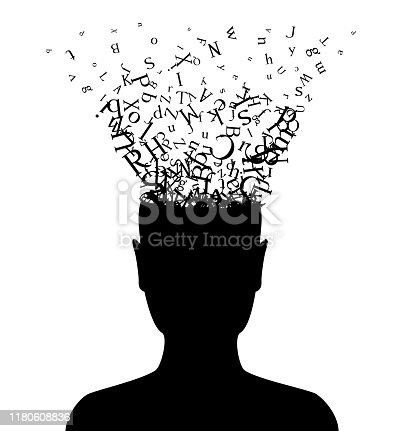 istock Head with flying letters . Vector decoration from scattered elements. Monochrome isolated silhouette. Conceptual illustration. 1180608836