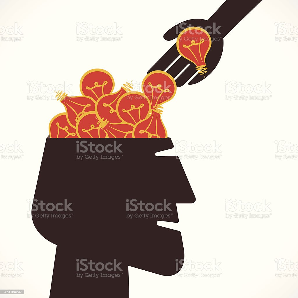 head with full of new idea concept royalty-free stock vector art