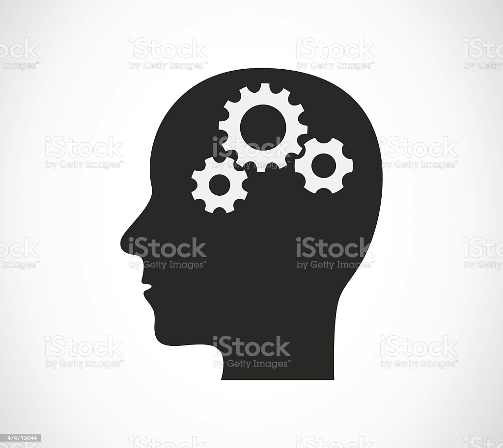 head with gears concept vector art illustration